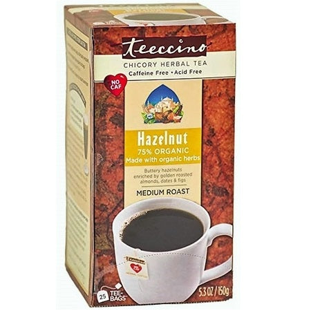 Teeccino Hazelnut Caffeine Free Herbal Coffee Teebags (Bx25) | TEECCINO