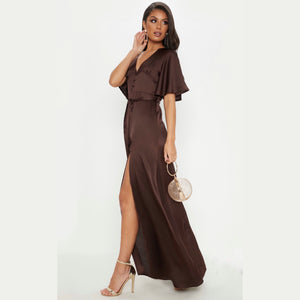 CHOCOLATE SATIN BUTTON DETAIL FLARED SLEEVE MAXI DRESS