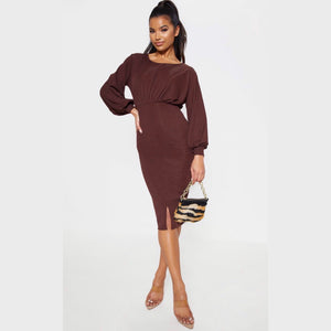 CHOCOLATE BROWN RIB BALLOON SLEEVE MIDI DRESS