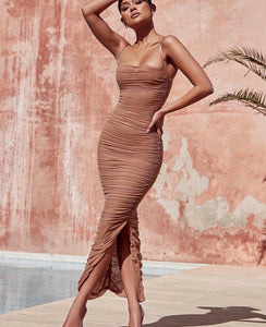 FORNARINA TAN ORGANZA MESH MAXI DRESS