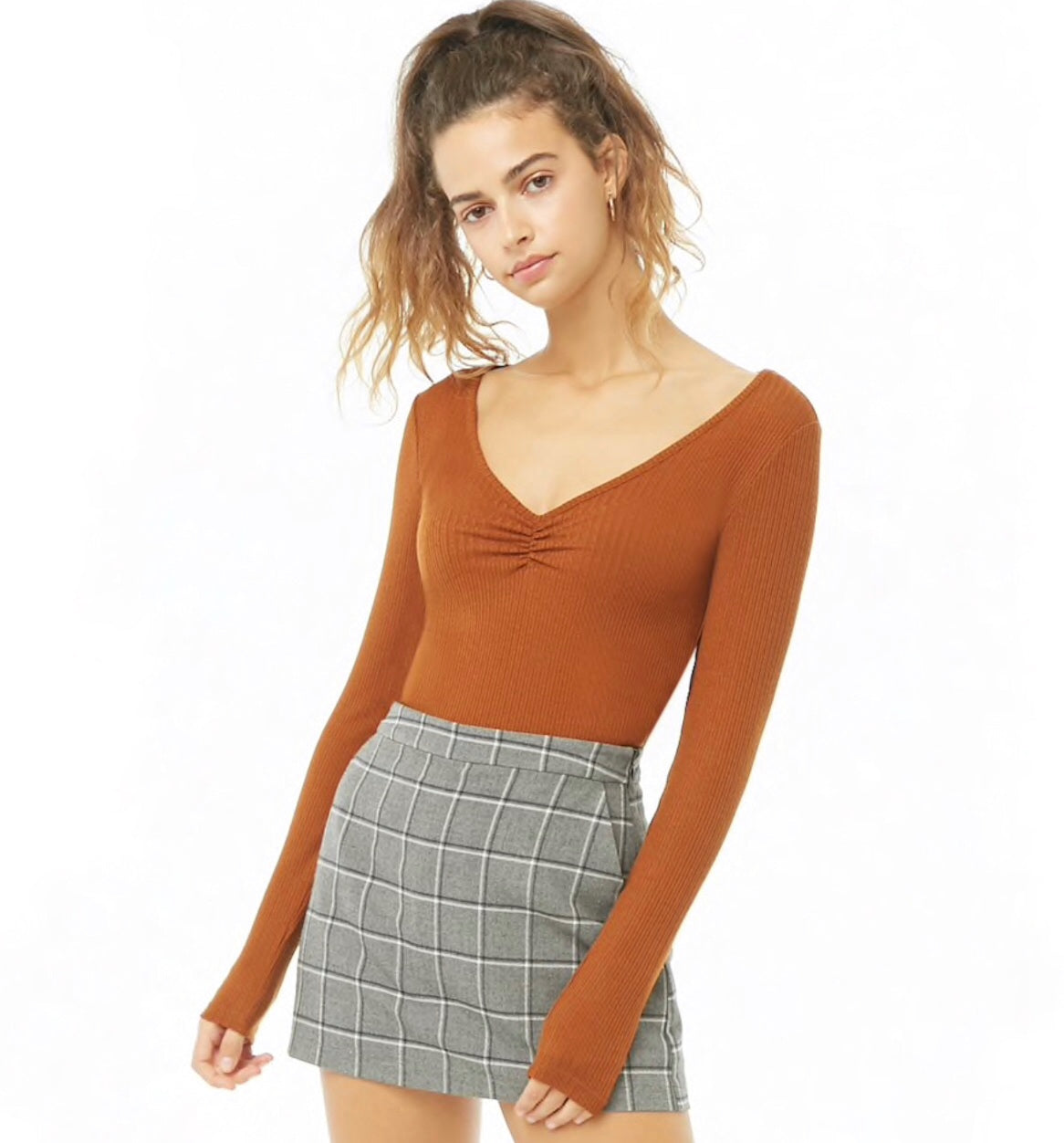 Ruched Ribbed Knit Top