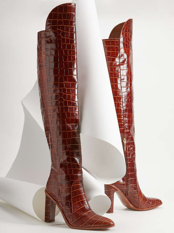 Crocodile-print leather boots