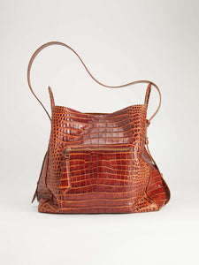 Crocodile-print leather bag