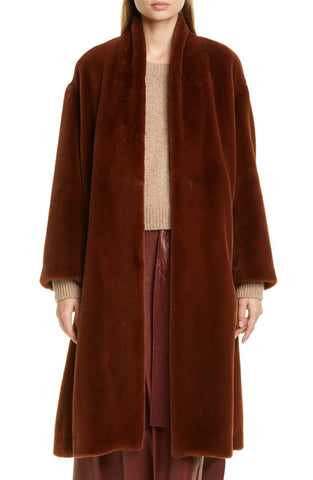 BELTED FAUX FUR LONG COAT