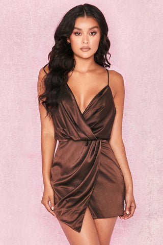 HELAINA CHOCOLATE SATIN DRAPED MINI DRESS