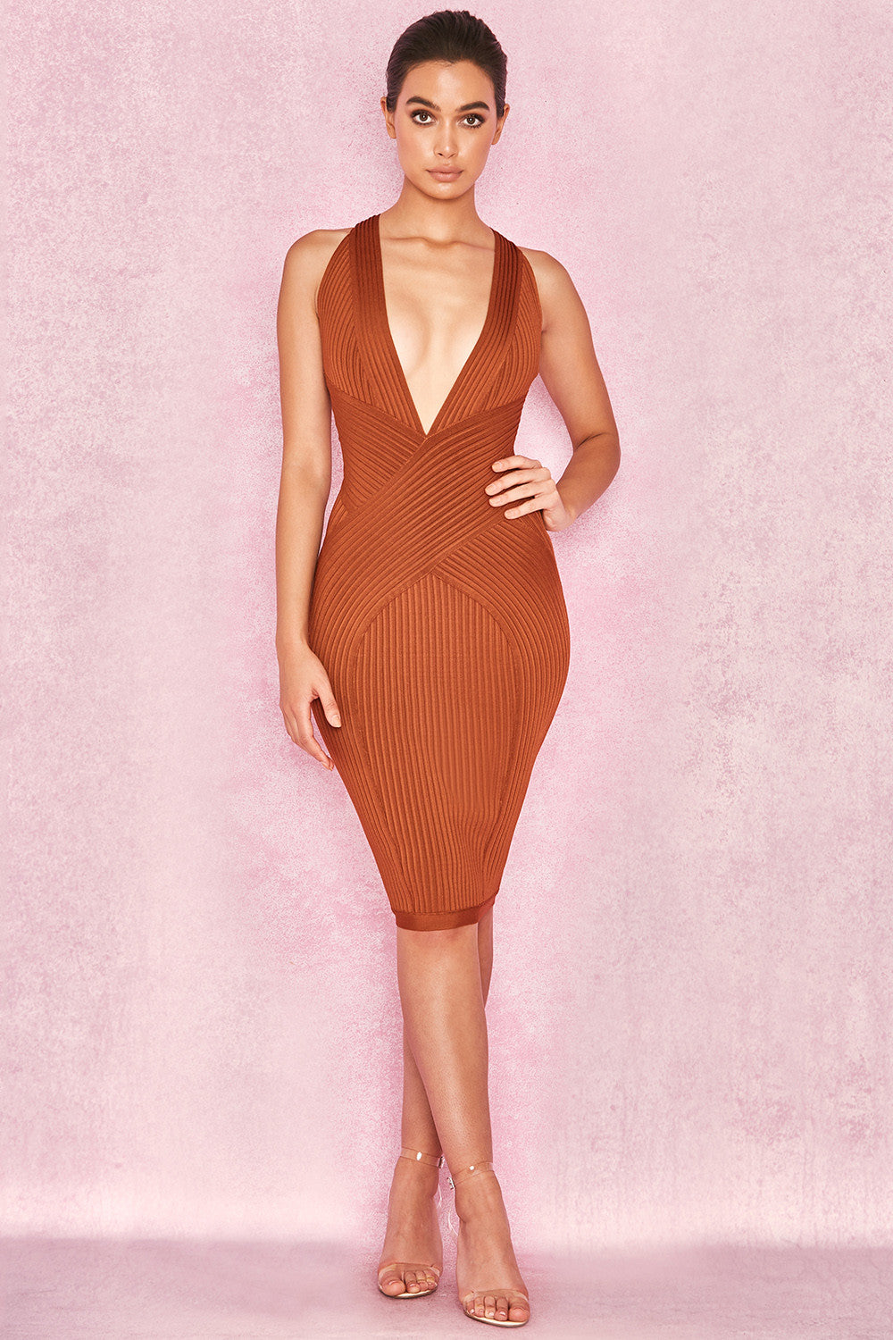 VIVIENNE TOFFEE BANDAGE WRAP PLUNGE DRESS