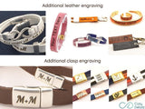 couples double wrap leather bracelet with engraved