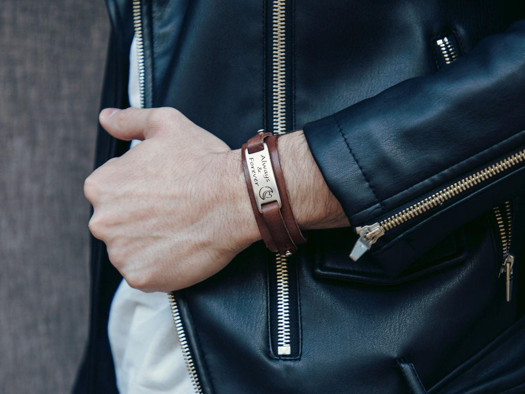 brown leather cuff with custom engraving