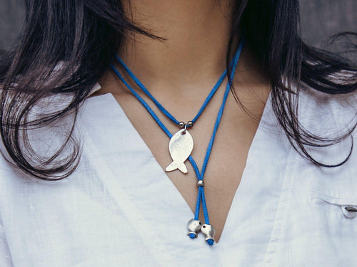 suede leather lariat necklace with fish pendant
