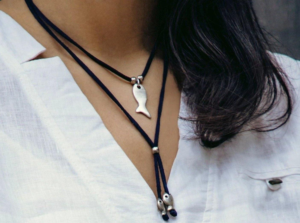 Lariat Necklace with Fish Pendant