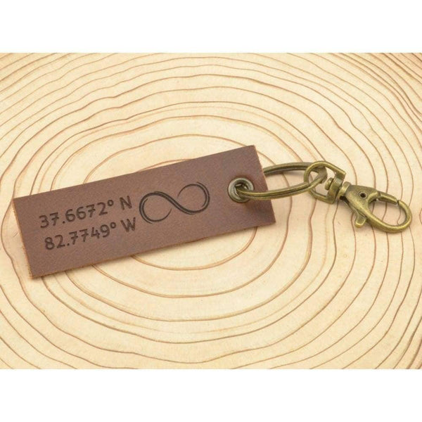 COZY DETAILZ -  custom GPS coordinates, rustic keychain, leather keychain - Accessories