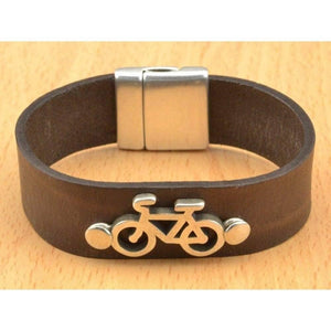 bike leather cuff bracelet