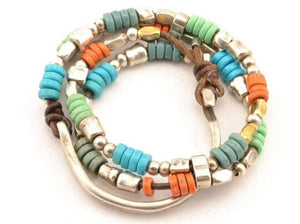 women boho bracelet with recycled glass african beads wrap double strand leather bracelet beaded multicolored women bracelet gifts for her