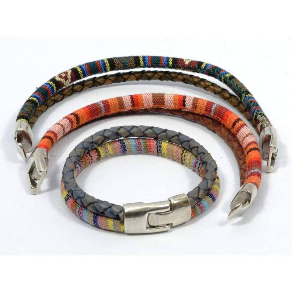 ethnic bracelet with braided leather and T-Clasp