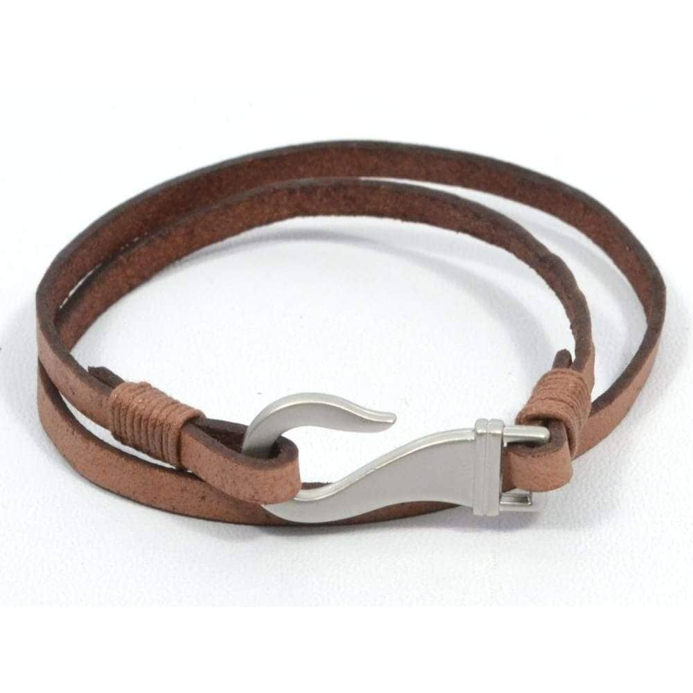 couples fish hook leather bracelets