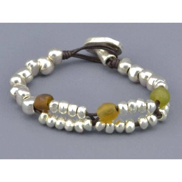 COZY DETAILZ -  glass beads bracelet with leather wrap for women - Bracelets