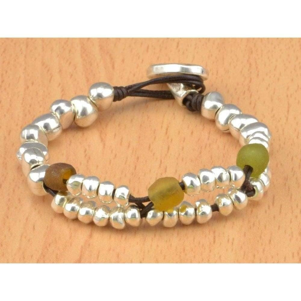 recycled glass beads bracelet