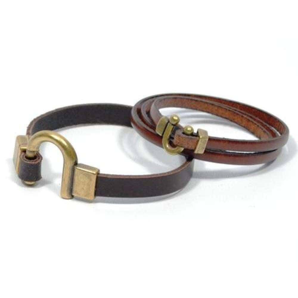 triple wrap leather bracelet with horseshoe clasp