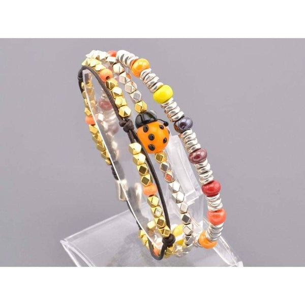 COZY DETAILZ -  ladybug bracelet, czech beads bracelet, women leather bracelet - Bracelets