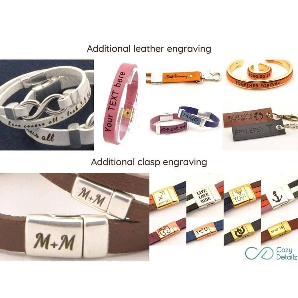 music note leather cuff bracelet
