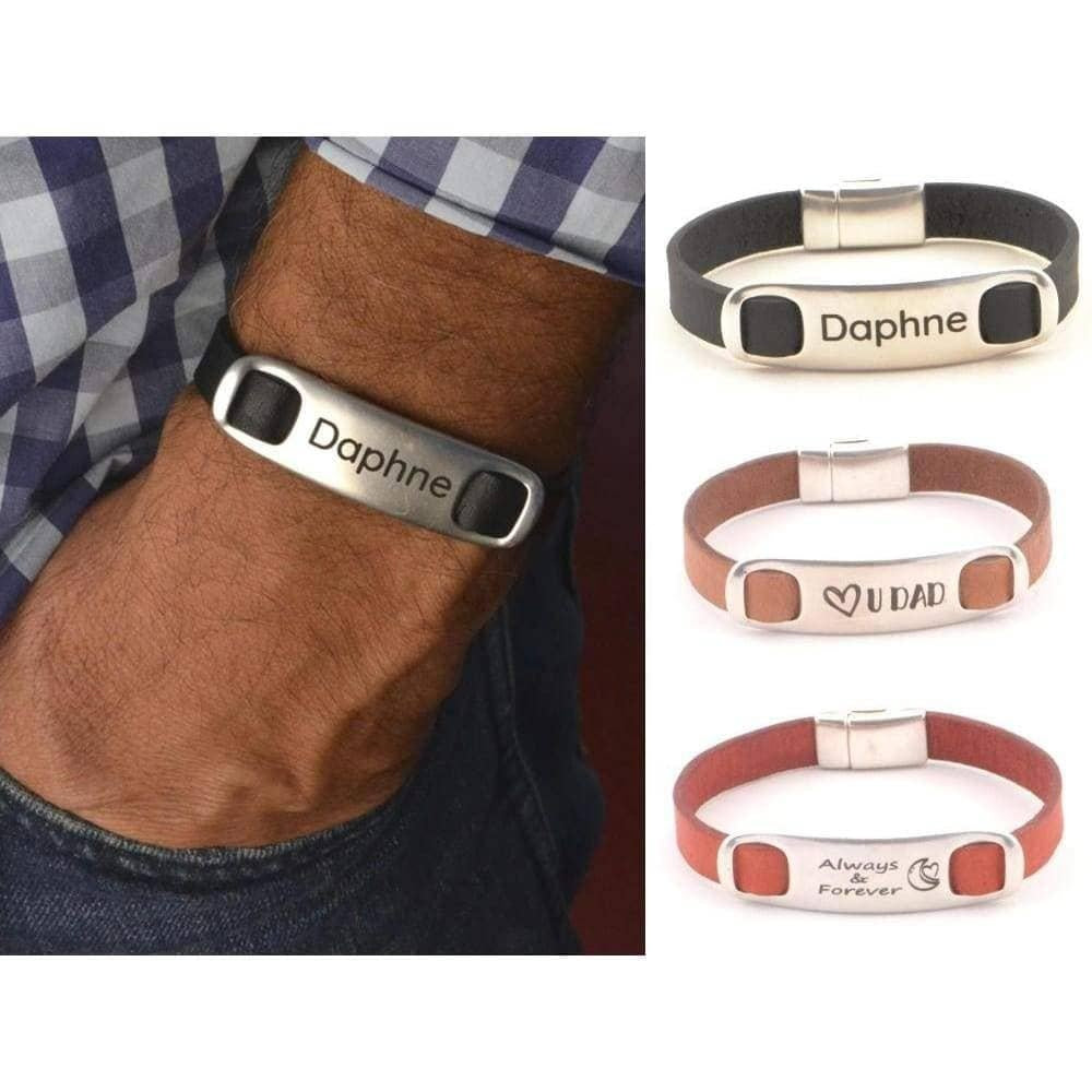 leather bracelet with name engraved