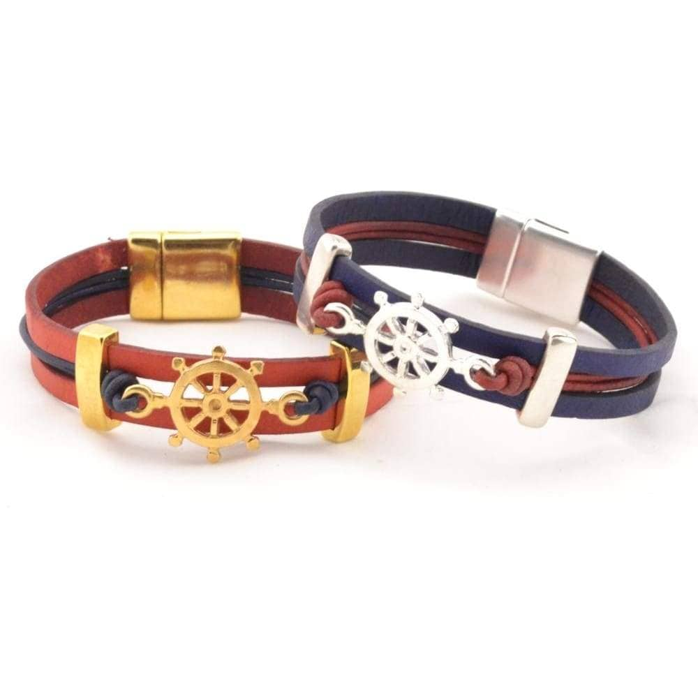 leather bracelet with ship wheel