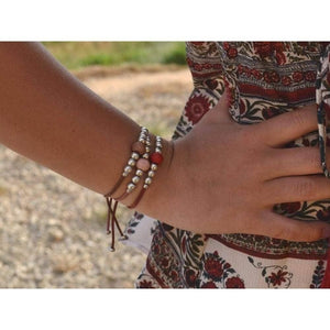 stackable beaded boho leather bracelet
