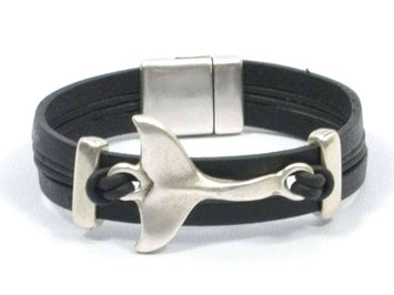 whale tail leather bracelet