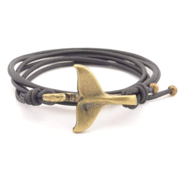 COZY DETAILZ -  whale tail bracelet, rustic leather bracelet, wrap leather bracelet - Bracelets