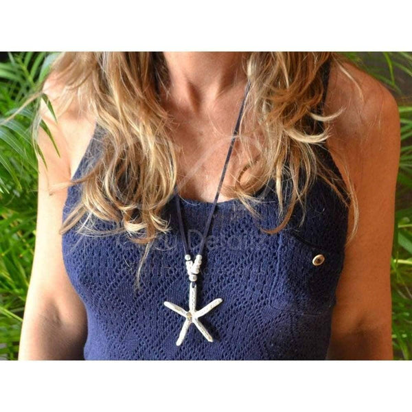 COZY DETAILZ -  star necklace with freshwater pearl long bohemian necklace - Necklaces