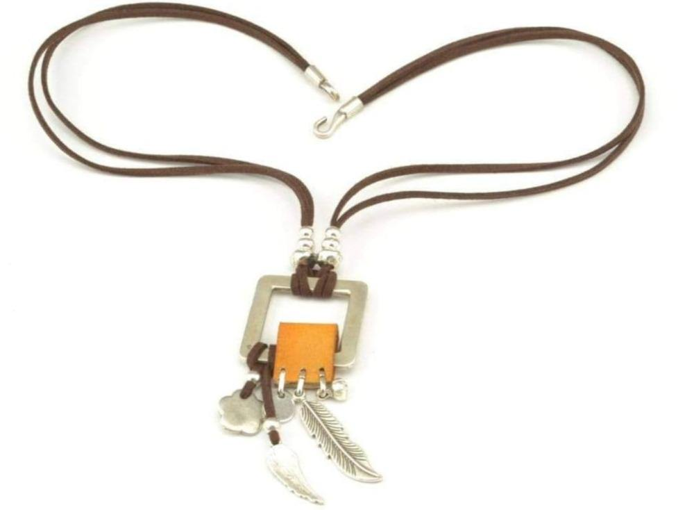 boho long necklace with feather charms
