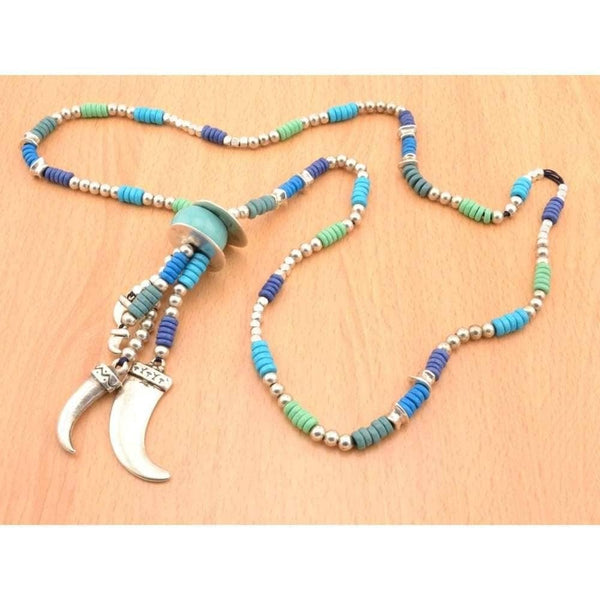 COZY DETAILZ -  stuning horn necklace with beads, boho necklace, long leather necklace - Necklaces