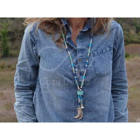 boho horn necklace with beads