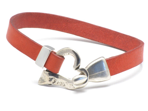 silver heart leather bracelet for woman