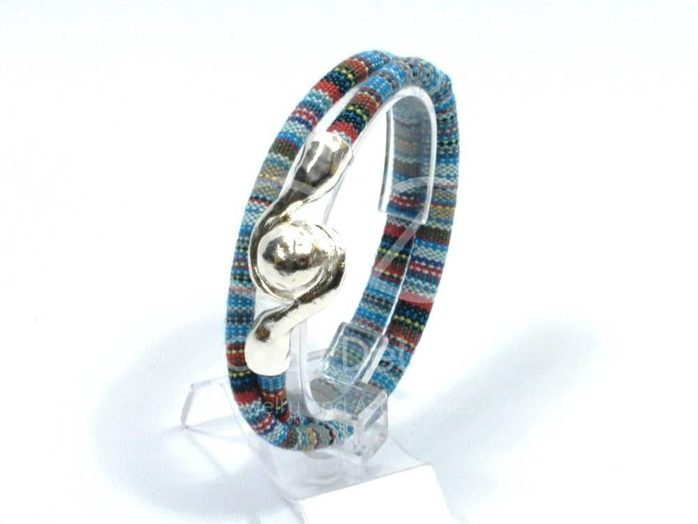 double wrap bracelet in woven ethnic pattern