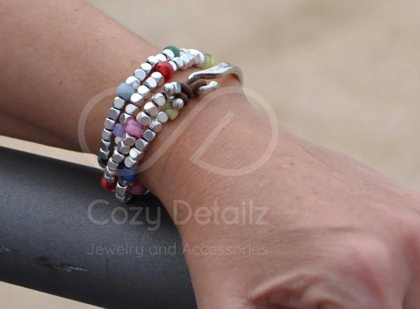 boho double wrap beaded bracelet