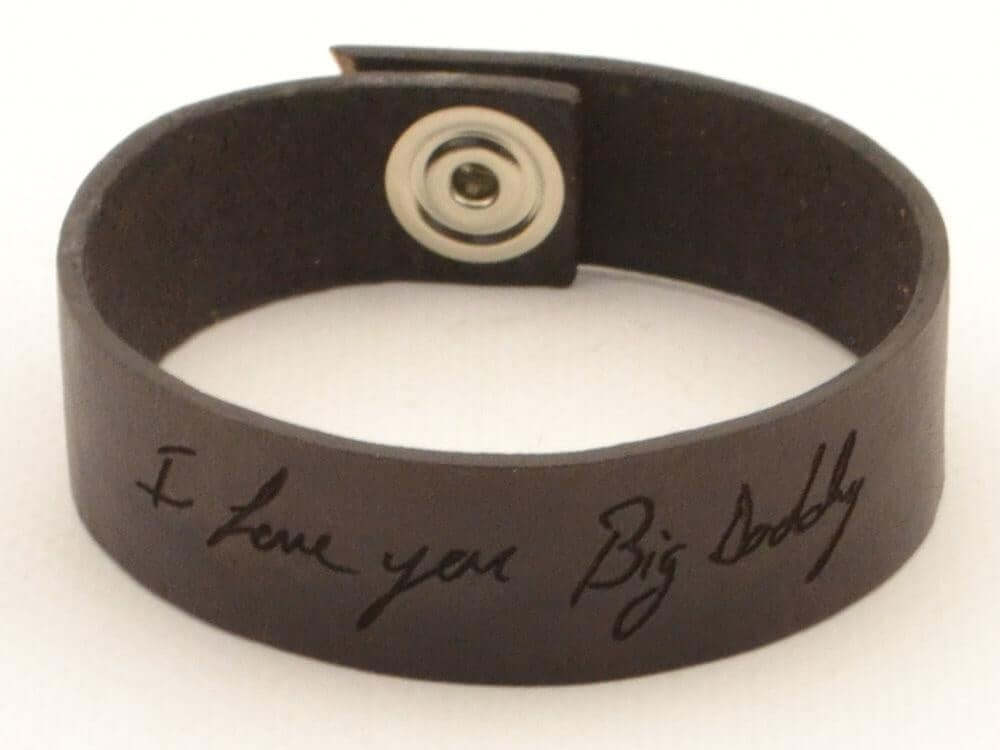 handwriting leather cuff bracelet for couples