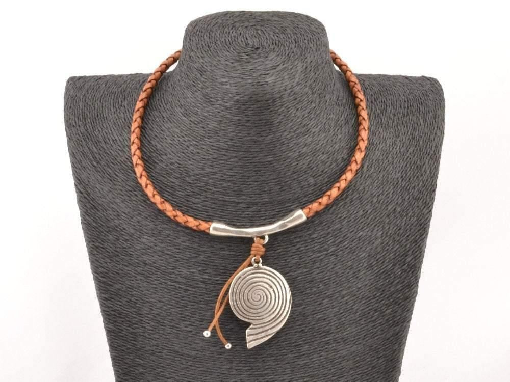 braided leather necklace with spiral pendant