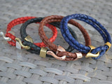 braided leather bracelet with hook clasp