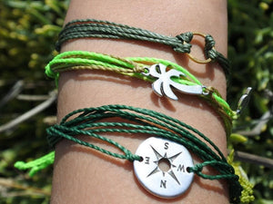 palm tree string bracelet stack