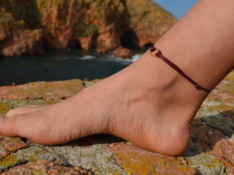 wax cord anklet bracelet, foot jewelry, anklets for women-Anklets-COZY DETAILZ