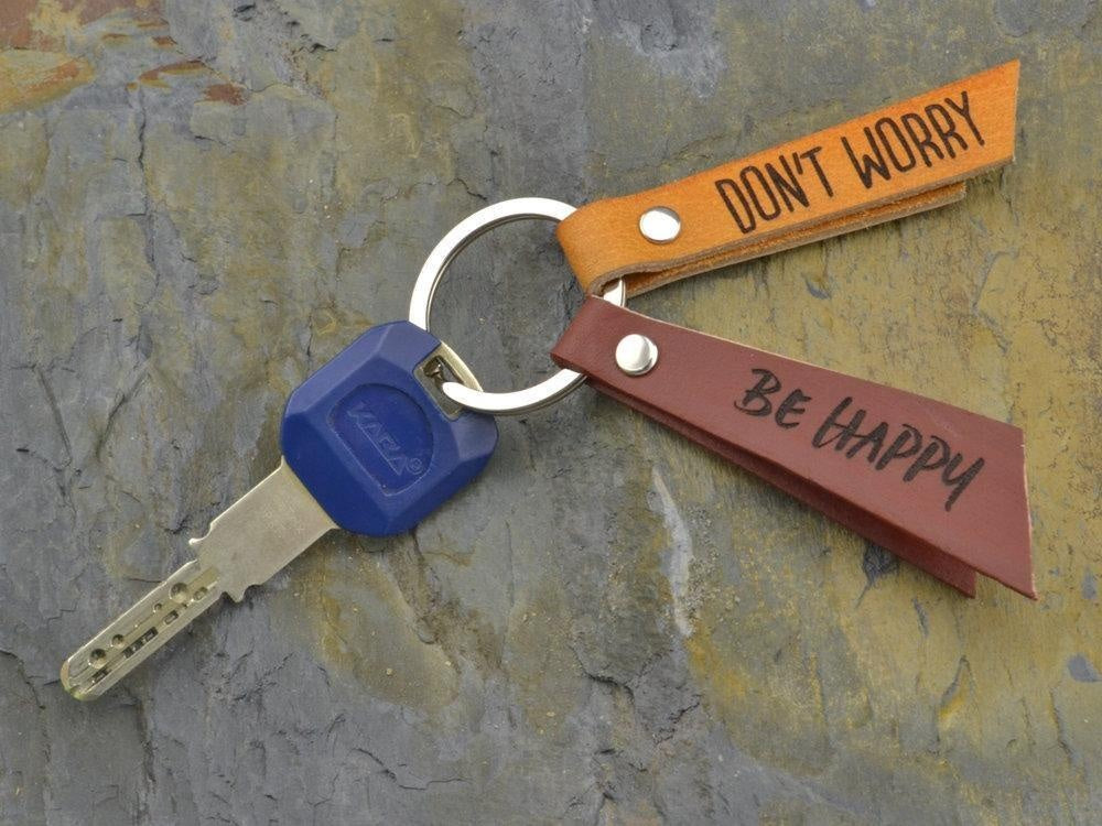 leather keychain with custom quote