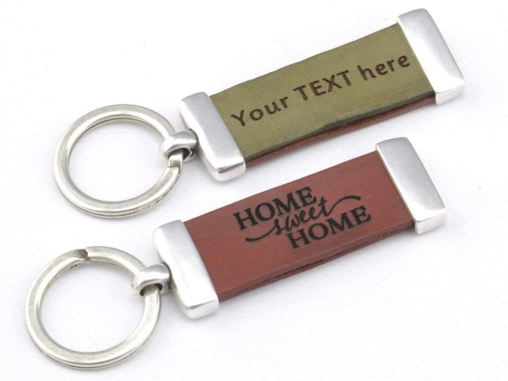 handwriting leather keychain
