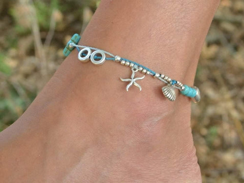 turquoise anklet bracelet, sea star sea shell foot jewelry, boho beach anklets for women
