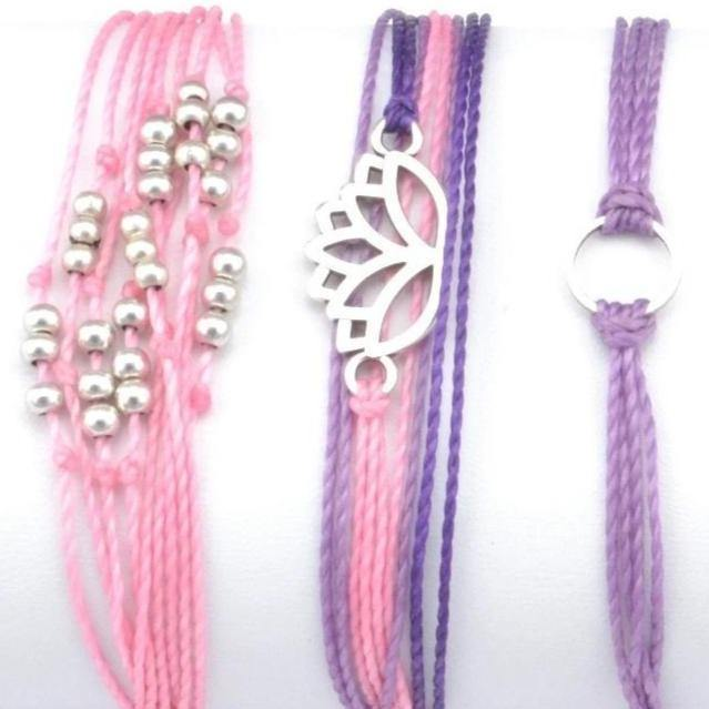 lotus flower string bracelet stack