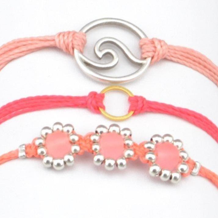 flower beads string bracelet stack