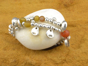stretch beaded bracelet with recycled glass beads