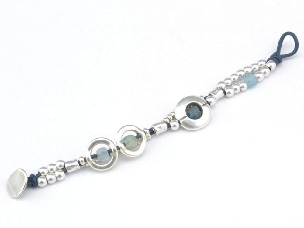 recycled glass beaded bracelet