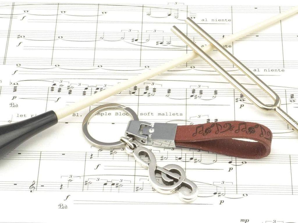 leather keychain with music notes