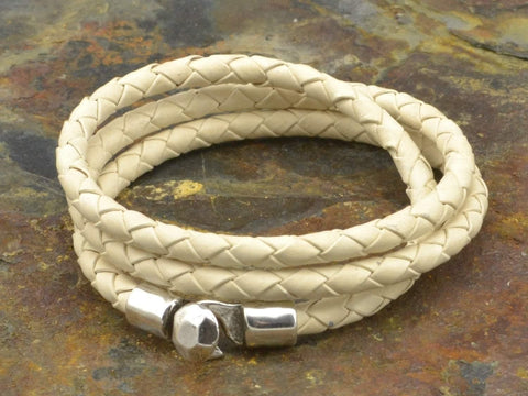 triple wrap braided leather bracelet
